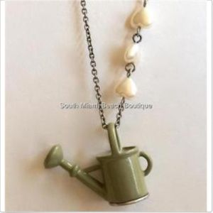 Silver Watering Can Necklace Gardening 29""